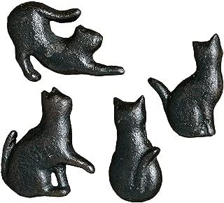 4x Cast Iron Matt Black Cat Shaped Cupboard Drawer Knob Kitchen Cabinet Door Pull Knobs with Screws
