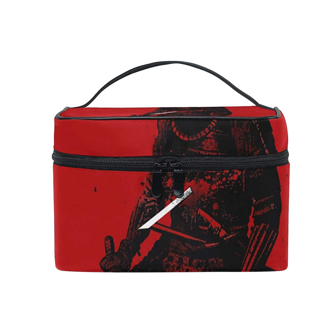 半島元気マリンメイクボックス 死の侍柄 化粧ポーチ 化粧品 化粧道具 小物入れ メイクブラシバッグ 大容量 旅行用 収納ケース