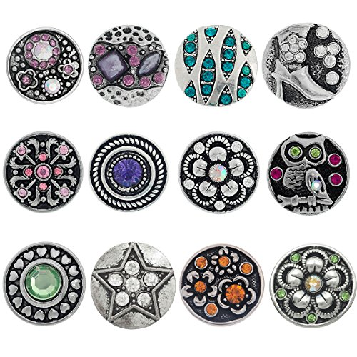 Souarts Pack of 12pcs Mixed Rhinestone Snap Button Jewelry Charms