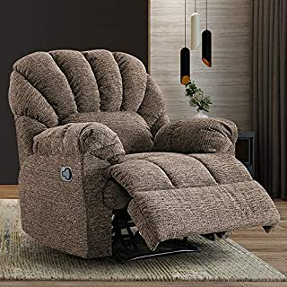 Recliner Chair, Yarn Fabric Recliner Chair Reclining Chair Overstuffed Design - Comfortable Recliner Chair for Living Room Sofa Chair (Chocolate)