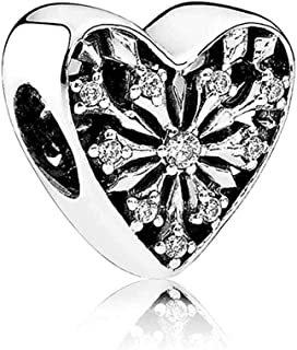 Frosted Heart of Winter Charm Snowflake opework Silver Bead fit Pandora Bracelets