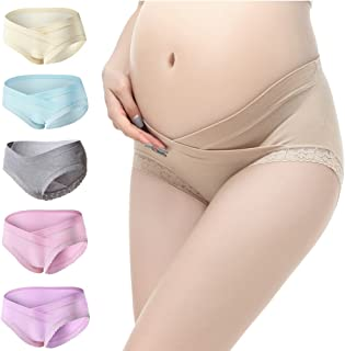 3909f8067efde PIDAY Women's Under The Bump Lace Cotton Maternity Underwear Hipsters  Panties Multi Pack