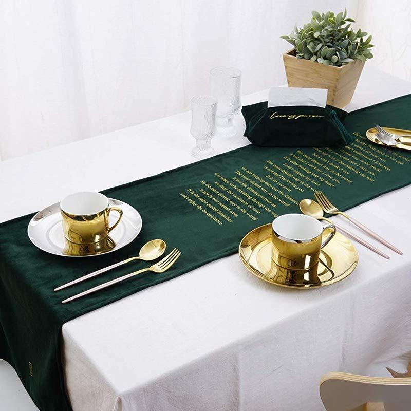 ARTBECK Table Runner Dining Table Runners 72 Inch Velvet Table Flag Wedding Christmas Party Table Runner Hot Stamping Letter Green 1 Pack 14 X72