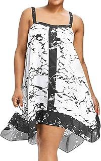 ededcc09032 Women Summer Mini Dress Sundress Plus Size Cuekondy Casual Sleeveless  Printed Sling Beach Party Swing Dresses