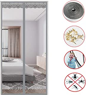 COLOM Screen Door Magnets,75x28inch, Upgraded Magnets Durable Mesh Curtain, Magnetic Self Sealing Mesh Partition Keeps Bugs Out Keep Fresh Air in-Gray 190x70cm