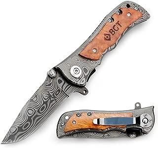 BGT Classical Tactical Knife Damascus Pattern Liner Lock Folding Pocket Knives For Hunting Outdoor With Velvet Bag