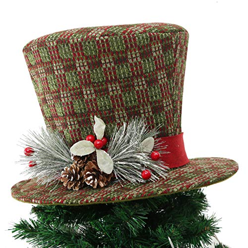 Wyness 15 inch Christmas Tree Topper with LED Lighted Xmas Hat with Pinecones and Holly Berries(Green)