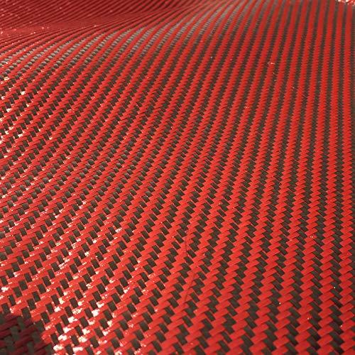 Kevlar (Red - 5 Ft x 1Mtr) Carbon Fiber Fabric-Twill WEAVE-3K/200g