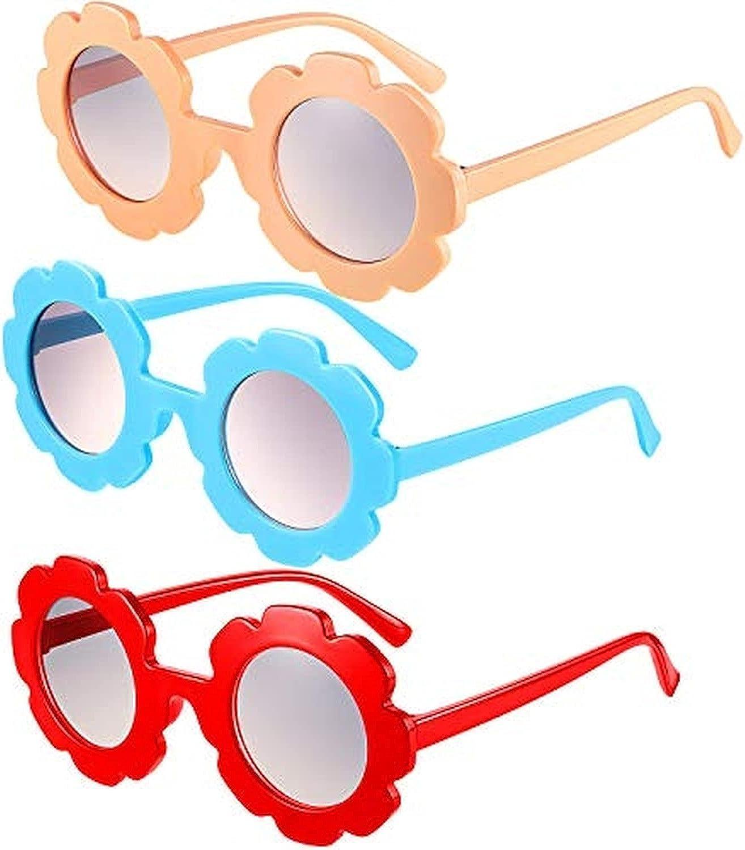 Xiying 3 Pcs Round Flower Sunglasses Girls Flower Glasses Cute Outdoor Beach Eyewear for Toddler Kids