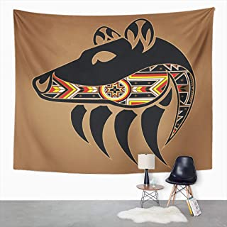 Suklly Tapestry Wall Hanging Abstract Bear Head and Claw Native American Animal Black Home Decor Polyester Living Bedroom ...