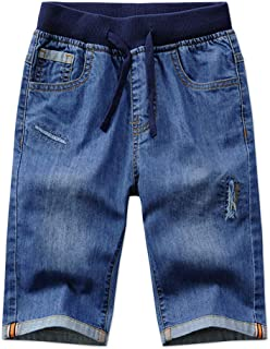 Child Boys Mid Waist Elastic Straight Stretch Summer Capris Cropped Denim Jeans Shorts 3T-12
