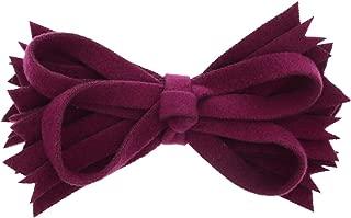 Plum Felt & Wool Strips Hair Bow Clip For Girls Small