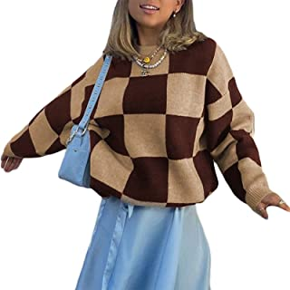SMIMGO Argyle Plaid Y2k Jersey de punto de gran tamaño vintage marrón cuello en V suéter suéter de punto estética ropa par...