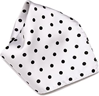 WHITE with BLACK Polka Dots Handkerchief Pocket Square Hanky Men's Handkerchiefs
