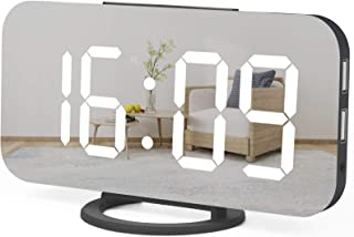 WulaWindy Digital Alarm Clock, Large Mirrored LED Display, with USB Charger, Snooze Function Dim Mode Wall Hanging Beside ...