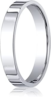 Men's Palladium 4mm Flat Comfort Fit Wedding Band Ring