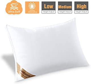 Agedate Adjustable Down Alternative Bed Pillows for Sleeping, Hypoallergenic Microfiber Fill Pillow, Soft Also Supportive, Easy to Care, Relief for Neck and Headache Pain, Queen Size, (1 Pack)