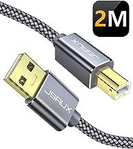 JSAUX Cable Impresora [2M] Cable Impresora USB Tipo B 2.0 Compatible para Impresora HP, Epson,Canon,Brother,Lexmark,Escáner,Disco Duro,Fotografía Digital y Otros Dispositivos-Gris