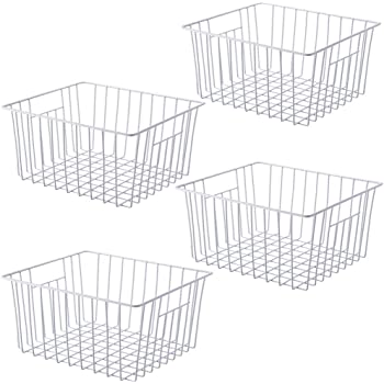 despensa Cestas de alambre grandes con forro de tela cuarto de ba/ño y sal/ón color bronce mDesign Juego de 2 cestas de almacenaje de metal Cajas organizadoras para cocina