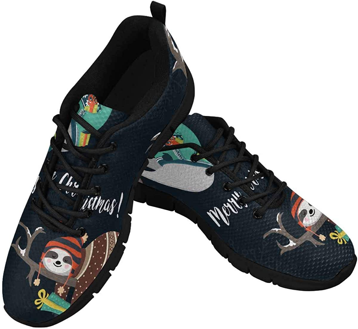 InterestPrint Cute Sloth Women's Lace Up Breathable Non Slip Sneaker