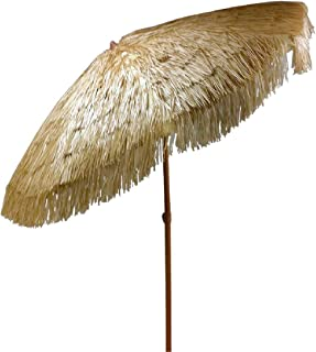 8 feet Hula Umbrella with Tilt Outdoor Thatched Umbrella with Vented Canopy Tilt and Fabric Carry Bag UPF 50+ (8 FT with Tilt, Natural)