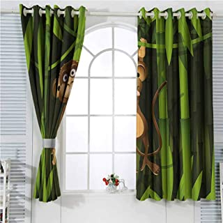 hengshu Jungle Decor Eclipse Blackout Curtains Wildlife Theme Illustration of a Cute Monkey in The Jungle Print Patio Door Curtains Living Room Decor W107 x L84 Inch Brown and Fern Green
