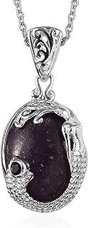 Trust Calm Hope Self Love Chain Pendant Necklace Lepidolite Black Spinel Platinum 20