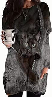 3D Cat Printed Pullover for Women, Women's Plus Size Tunic Tops Long Sleeve Casual Loose Fit Blouse Tee Shirts Shirts Tee...