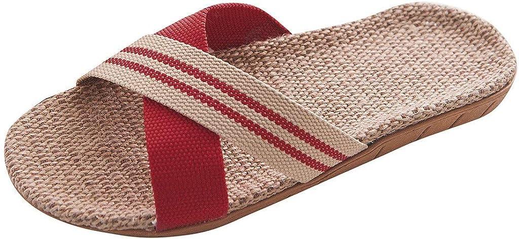 Fudule Flat Sandals for Women Casual Comfy Grass Weav Open Toe S