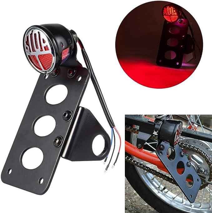 Universal Motorcycle Metal Tail Brake Light License Plate Bracket Side Mount