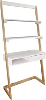 American Trails Freestanding Ladder Desk With Drawer, Natural Maple/White