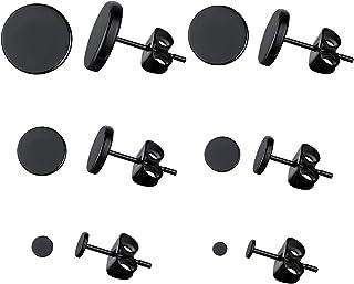 FaithHeart Viking Runes Black Stud Earrings Men Women Studs Set Jewelry 2-12 MM with Brand Packaging 6 Pairs