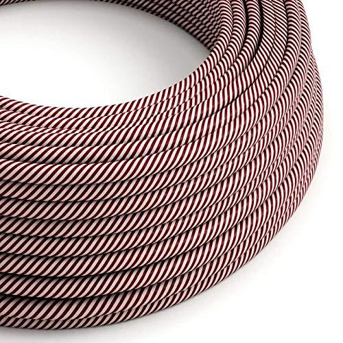 creative cables Cable Eléctrico Redondo Vertigo HD Recubierto en Textil Rosa y Granada ERM47-1 Metro, 2x0.75