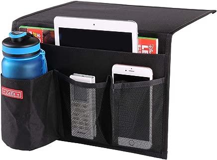 Zafit Bedside Storage Organizer, Table Cabinet Storage Organizer Bedside Organizer Caddy for Remotes Phone Glasses (4 Pockets-Black)