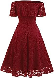 aa839f8a80 OHQ Robe en Dentelle pour Une Dame Noir Rouge Marine Femmes New Vintage  Femme Chic Soiree
