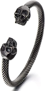 COOLSTEELANDBEYOND Unique Elastic Adjustable Mens Skull Cuff Bangle Stainless Steel Twisted Cable Bracelet Polished