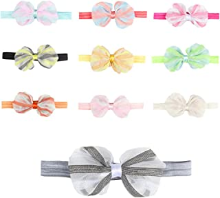 CHSEEO 10PCS Cute Baby Headband Set Elastic Turban Head Dress Hats Hair Wraps Hairbands Hair Bow For Toddler Kids Photography Props Costume Party Great Gift For Baby #1