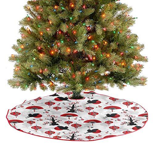 ThinkingPower Falda de árbol de Navidad con borla, grúa voladora, pájaros, farolillos para fiestas de Navidad, decoración de vacaciones, diámetro de 91,4 cm