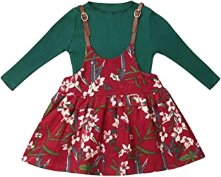 Sundro Toddler Kids Baby Girl Autumn Clothes O Neck Knitted Tops+Pleated Flower Strap Dress 2PCS Outfit Set Overalls