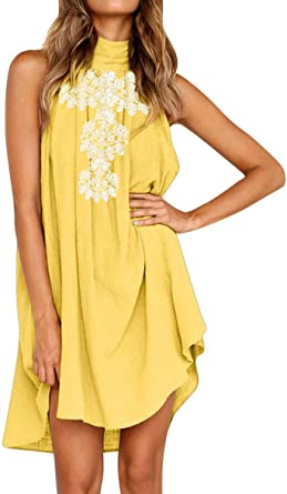 Women Beach Sundress Halter Neck Mini Dress Summer Holiday Sleeveless Print Party Dress Lace Dress Skirts