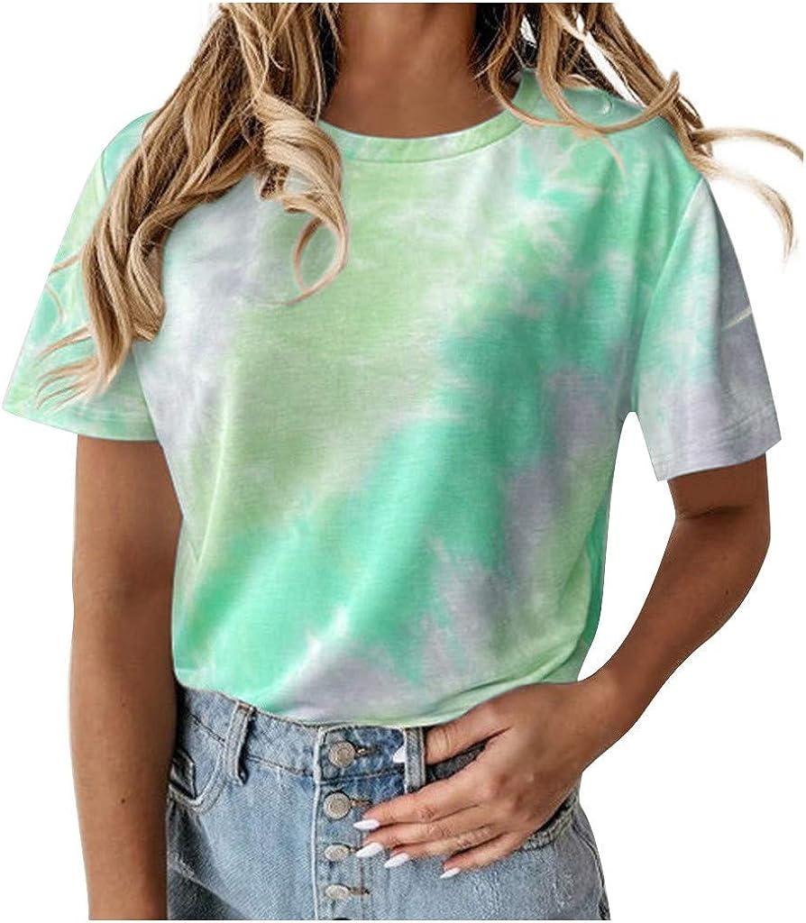 Weginte Women Tulsa Mall T Shirts Casual Tie- Summer Crew-Neck Jacksonville Mall Sleeve Short