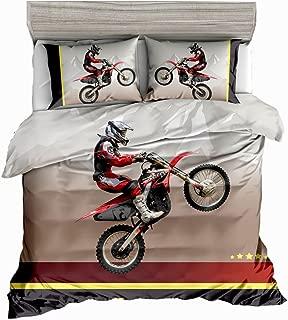 SxinHome Motocross Racer Bedding Set for Teen Boys, Duvet Cover Set,3pcs 1 Duvet Cover 2 Pillowcases(no Comforter inside), Twin Size