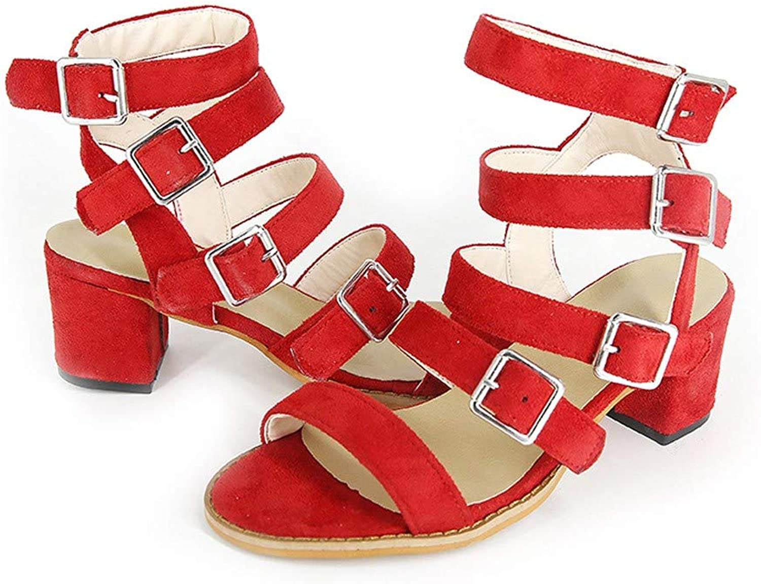 WM & MW Summer Womens shoes Flock Buckle Strap Sandals Open Toe Casual Party shoes Square Heel Sandals