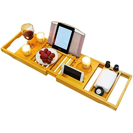 FIRIKバスタブトレー バステーブル 大サイズ バスブックスタンド 伸縮式 バスタブラック 竹製 お風呂用品 半身浴 浴槽 置き台