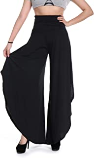 High Split Yoga Pants for Women,Ladies Wide Leg Flare Cropped Palazzo Dress Pants Fitness Ruffle Loose Trousers