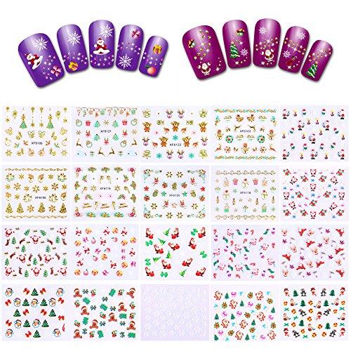 Howaf Navidad 3D Nail Art Stickers Calcomanías (20 Hojas), Navidad Papá Noel Reno Copo De Nieve Pegatina uñas...