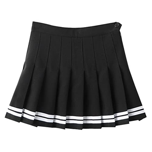 3b87036fa2 Yasong Women Girls Short High Waist Pleated Skater Tennis Skirt School Skirt  Uniform With Inner Shorts