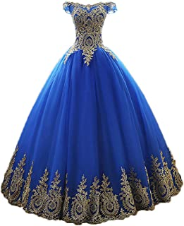 Women's Sleeveless Quinceanera Dress Gold Lace Long Party Prom Ball Gown