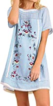 Woman Cotton Line Dresses Short Sleeve Floral Embroidery Loose Dresses Retro Mexican Tunic Top Mini Blouse Dresses