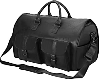 Carry On Garment Bag, Waterproof Mens Garment Bag for Travel Business, Large Leather Duffel Bag with Shoe Compartment -Black